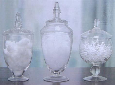 clear glass bathroom accessories apothecary jars set 3 clear glass bath accessory storage