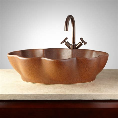 Pottery Vessel Sinks moro hand glazed pottery vessel sink deep sienna bathroom
