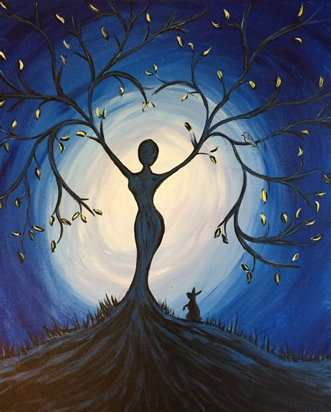 acrylic painting ideas advanced paint nite blue tree goddess use orlandovip at checkout