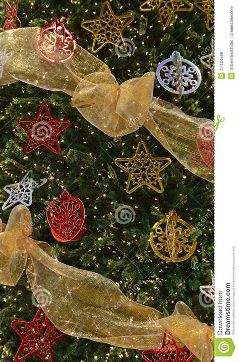 complete tree decorations complete decoration on large tree stock photo