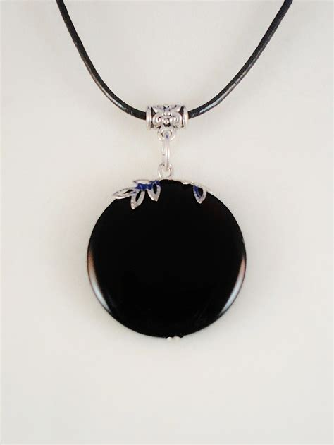 black pendants absolute black genuine circle pendant leather cord