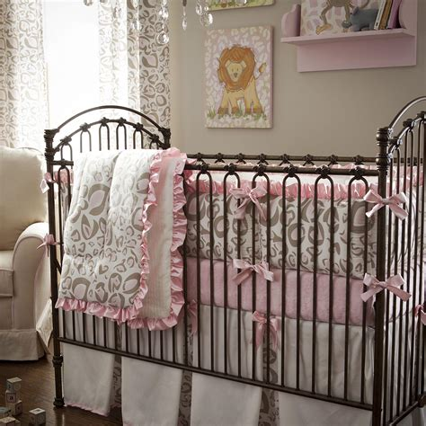 animal print crib bedding set pink and taupe leopard crib bedding baby bedding in