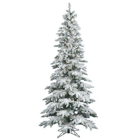 9 flocked tree 9 foot slim flocked utica fir tree all lit