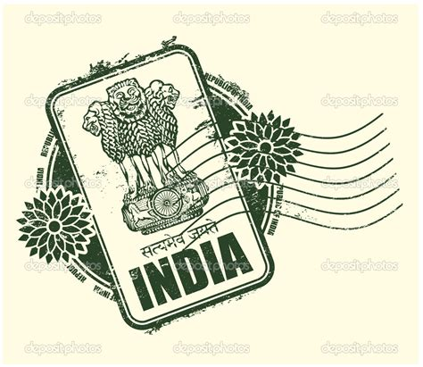 passport rubber st rubber st of india with the arms stock vector