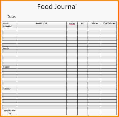 food diary template food journal template jpg letterhead