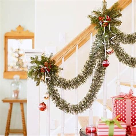 how to decorate with tinsel garland decorate the stairs for 30 beautiful ideas