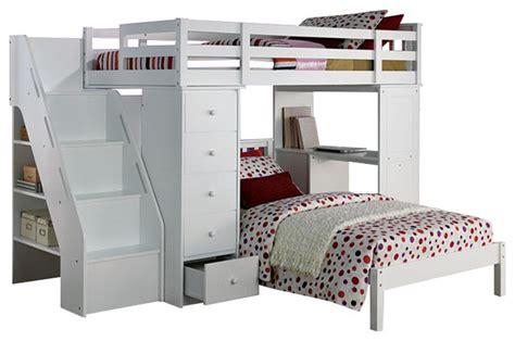 workstation bunk bed megan size loft bed desk chest all in 1 workstation