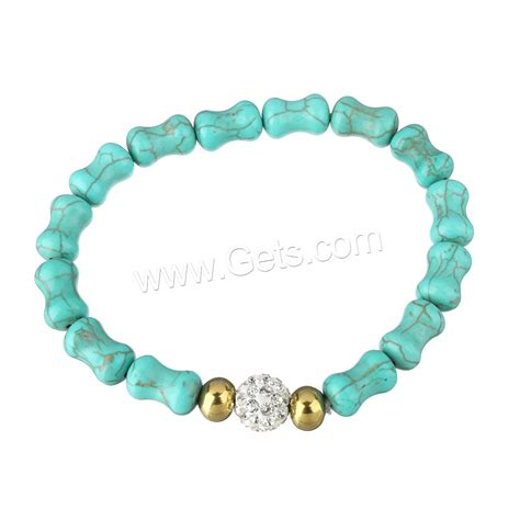 synthetic turquoise synthetic turquoise bracelet with rhinestone clay pave