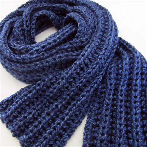 Blue Knit Scarf Crochet Winter Scarf Mens Scarves