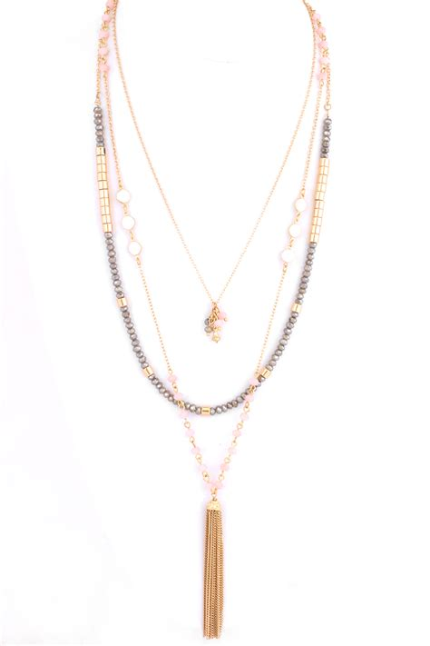 multi layered beaded necklace multi layered glass bead tassel necklace necklaces