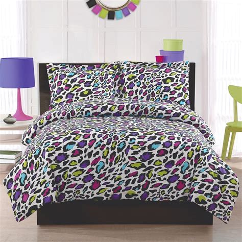 purple cheetah comforter set chic black and white bedding for