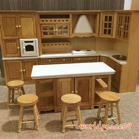 dollhouse kitchen furniture dollhouse miniature burlywood integrated kitchen furniture