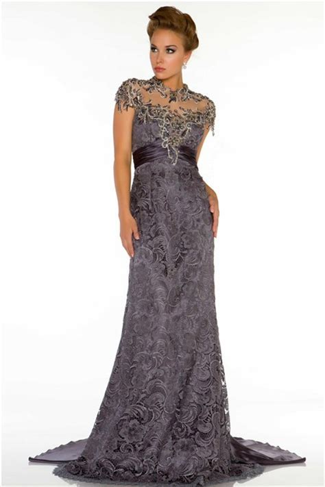 beaded evening dresses high neck cap sleeve backless charcoal grey lace