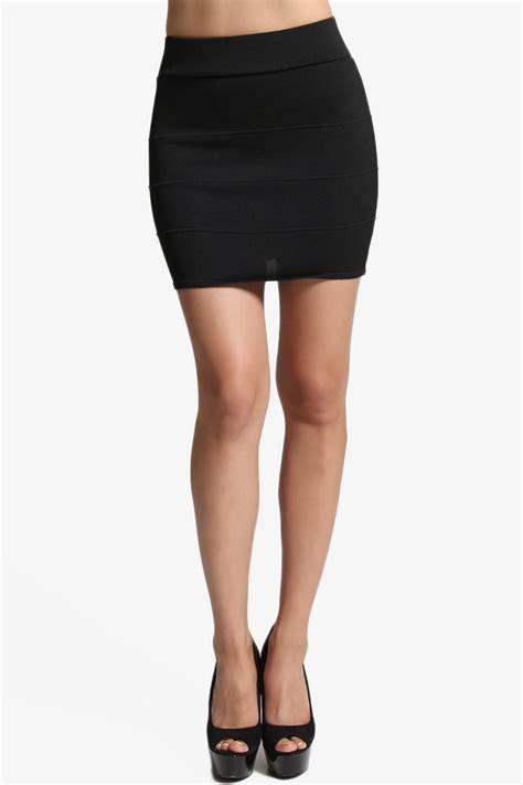 knitted bodycon skirt themogan bandage knit bodycon pencil mini skirt in black