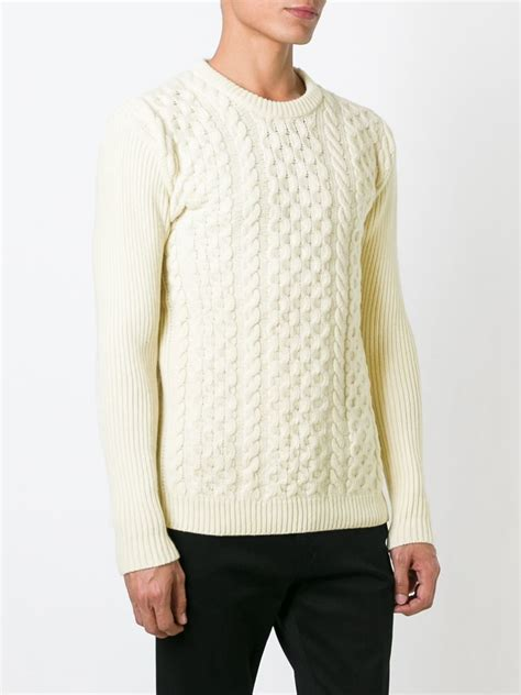 cable knit sweater mens ami cable knit sweater in white for lyst