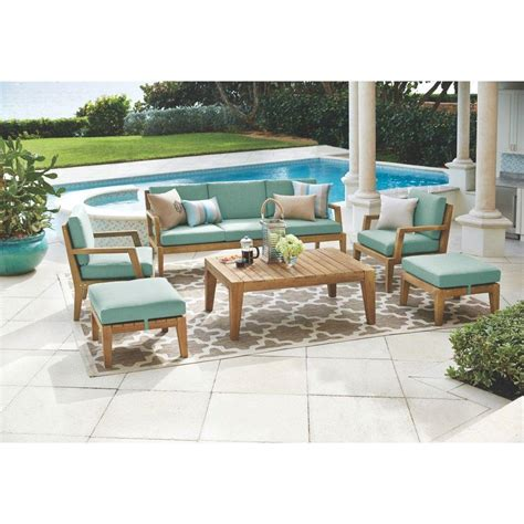 eucalyptus wood patio furniture home decorators collection bermuda 6 all weather