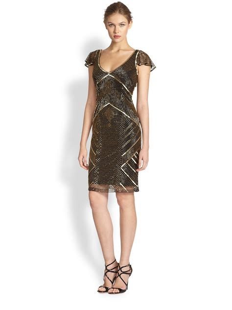 beaded dress theia metallic beaded cocktail dress in gold lyst
