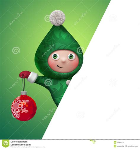 3d christmas elf toy character holding ball stock