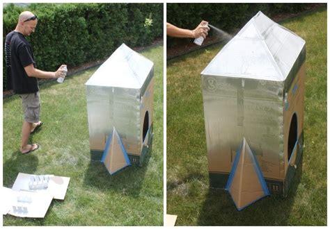 spray painting cardboard boxes cardboard box rocket ship diy rocket ship for
