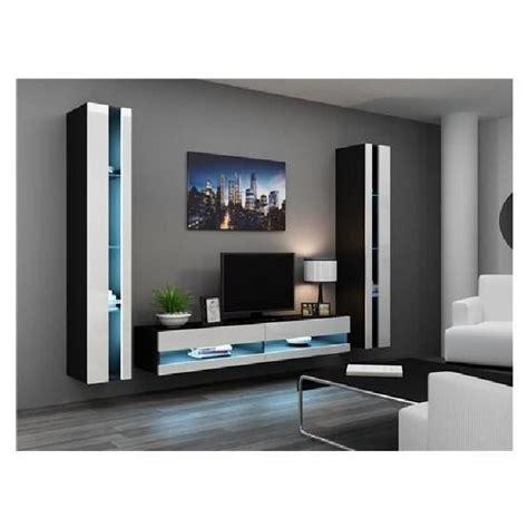 ensemble meuble tv mural olermo noir et blanc achat vente meuble tv meuble tv olermo nr bl