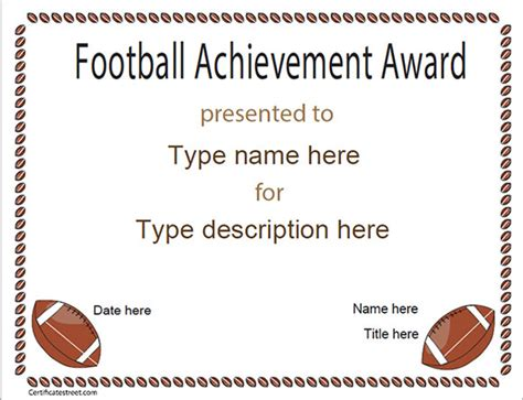 blank award templates football certificate template 7 download documents in