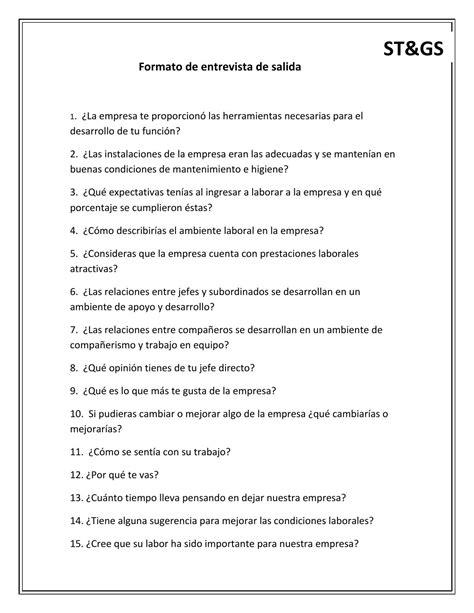 preguntas de entrevistas grupales de trabajo 10 formato de entrevista de salida by fabiola ju 225 rez