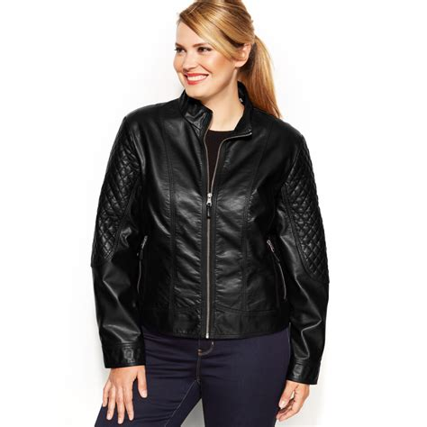 plus size leather jackets for plus size faux leather quilted moto jacket