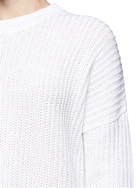 white chunky knit sweater theory hesterly chunky knit sweater in white lyst
