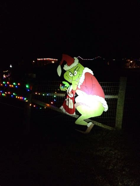 outdoor grinch stealing lights ideas