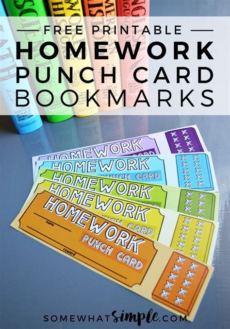how to make a punch card homework punch card bookmarks free printables