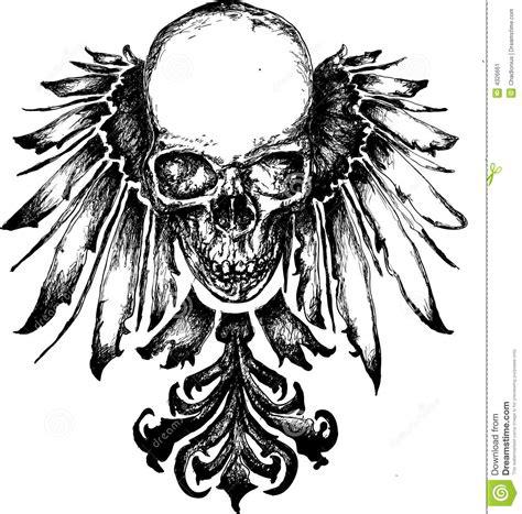 wicked skull heraldry illustration stock image image