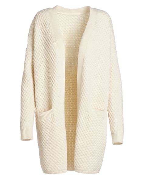 white knitted cardigan vince honeycomb knit cardigan winter white