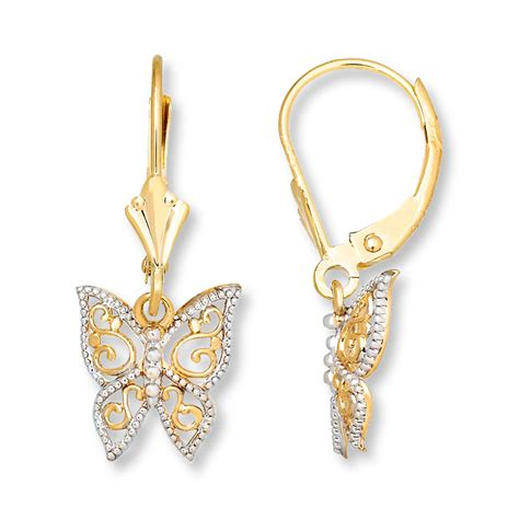 14k gold for jewelry jared butterfly dangle earrings 14k yellow gold