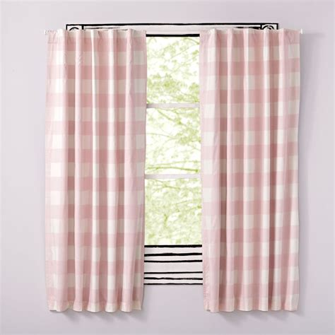 pink blackout curtains for nursery pink buffalo check curtain the land of nod