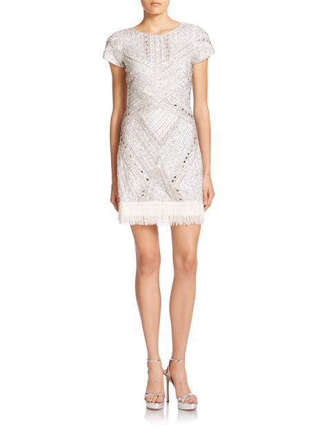 bead trim for dresses aidan mattox beaded fringe trim dress in white lyst
