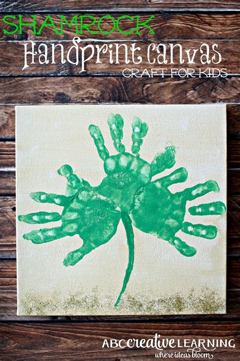 canvas crafts for shamrock handprint canvas craft for