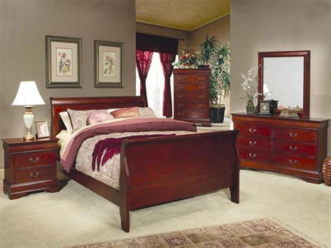 sleigh bedroom furniture sets coaster louis philippe sleigh bedroom set in cherry 200431
