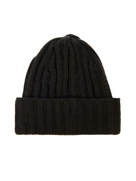 black knit hat yohji yamamoto ribbed knit beanie hat in black for lyst