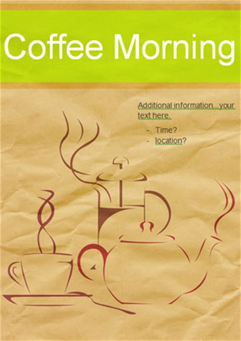 how to create a good flyer editable coffee morning poster free early years