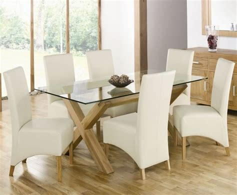 wooden dining table with white chairs best interior with upholstered chair design homesfeed