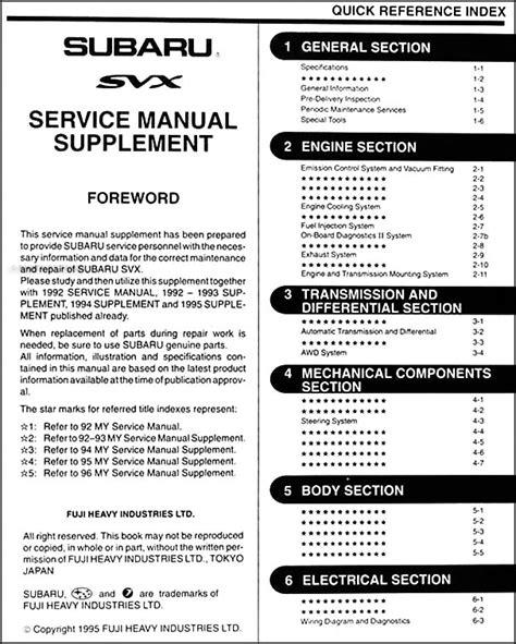 car engine repair manual 1994 subaru alcyone svx spare parts catalogs service manual 1996 subaru alcyone svx service and repair manual subaru repair manuals only