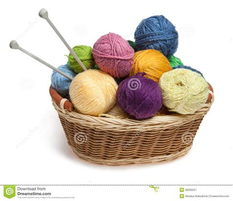 yarn in knitting knitting yarn balls and needles in basket royalty free