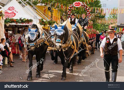festival in austria villach austria august 6 traditional beerwagon stock photo