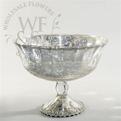 cheap mercury glass vases glass pedestal bowl silver wholesale flowers and supplies