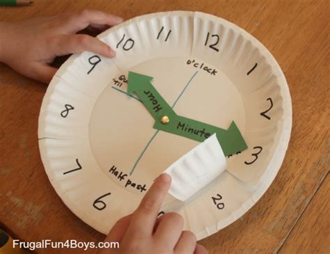 paper plate clock craft paper plate clock activity for learning to tell time