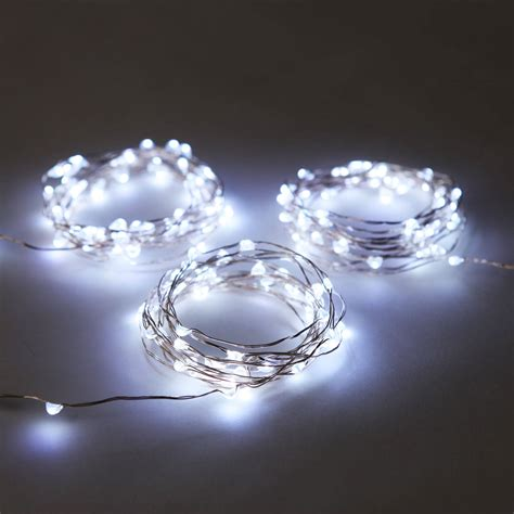 cool white lights cool white 50 led silver wire battery string light set of 3