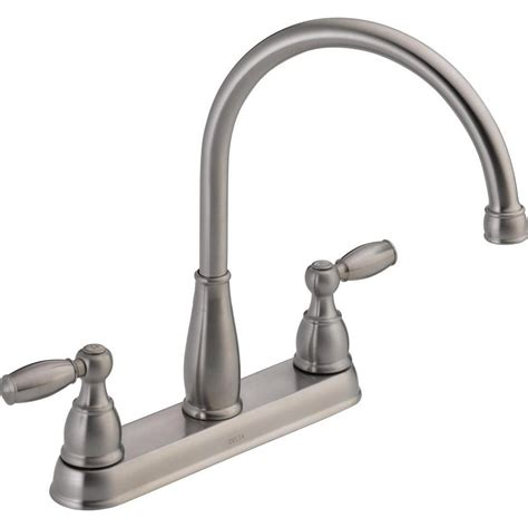 delta kitchen faucets installation delta foundations 2 handle standard kitchen faucet in stainless 21987lf ss the home depot