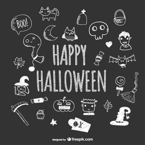 Harry Potter Wall Murals hand drawn cute icons of halloween on blackboard vector