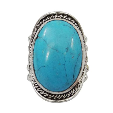 metal rings for jewelry silver tone turquoise metal ring fashion