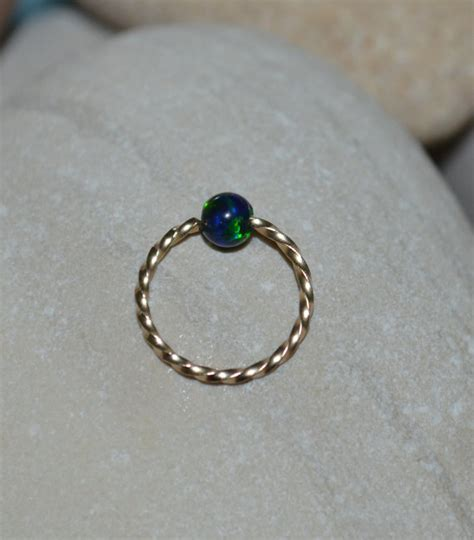 tragus captive bead ring 3mm opal tragus earring gold nose ring hoop captive bead